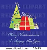 Vector Clip Art of Retro Blue Christmas Greeting with a Tree and Presents by MilsiArt