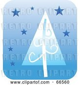 Vector Clip Art of Retro Blue Christmas Tree and Stars on Blue by Prawny