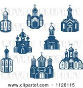 Vector Clip Art of Retro Blue Church Buildings by Vector Tradition SM
