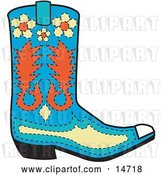 Vector Clip Art of Retro Blue Cowboy Boot with Orange and Yellow Floral Shapes by Andy Nortnik