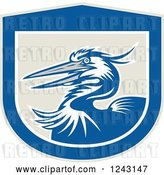 Vector Clip Art of Retro Blue Crane Bird in a Shield by Patrimonio