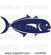 Vector Clip Art of Retro Blue Crevalle Jack Fish in Profile by Patrimonio