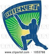 Vector Clip Art of Retro Blue Cricket Batsman with a Shield by Patrimonio