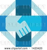 Vector Clip Art of Retro Blue Cross with Shaking Hands by Patrimonio