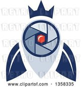 Vector Clip Art of Retro Blue Crowned Fly Shutter Eye Camera with a Moon Crest in the Center by Patrimonio