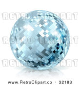 Vector Clip Art of Retro Blue Disco Mirror Ball by AtStockIllustration