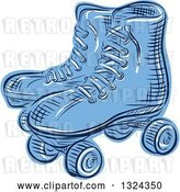 Vector Clip Art of Retro Blue Engraved or Sketched Pair of Roller Skates by Patrimonio