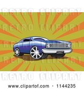 Vector Clip Art of Retro Blue Ford Fairmont Muscle Car over Rays by Patrimonio