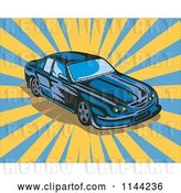 Vector Clip Art of Retro Blue Ford GT V8 Sports Car by Patrimonio