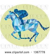 Vector Clip Art of Retro Blue Geometric Low Poly Horse Racing Jockey in a Green Oval by Patrimonio