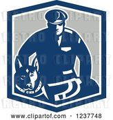 Vector Clip Art of Retro Blue Guard Dog and Security Officer in a Shield by Patrimonio