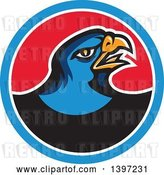 Vector Clip Art of Retro Blue Hawk Bird in a Blue White and Red Circle by Patrimonio