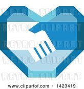 Vector Clip Art of Retro Blue Heart with Shaking Hands by Patrimonio