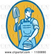 Vector Clip Art of Retro Blue Janitor Holding a Mop and Bucket over a Yellow Oval by Patrimonio