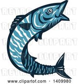 Vector Clip Art of Retro Blue Jumping Wahoo Fish by Patrimonio