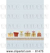Vector Clip Art of Retro Blue Lined Background with Christmas Presents by KJ Pargeter