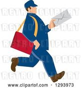 Vector Clip Art of Retro Blue Mailman Holding an Envelope and Walking by Patrimonio