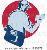 Vector Clip Art of Retro Blue Mailman Holding an Envelope in a Red Circle by Patrimonio