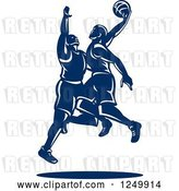 Vector Clip Art of Retro Blue Male Basketball Players by Patrimonio