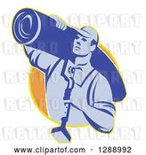 Vector Clip Art of Retro Blue Male Carpet Layer Carrying a Roll and Knee Kicker Tool in a Yellow and Orange Circle by Patrimonio