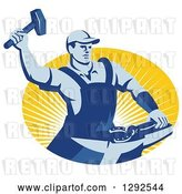 Vector Clip Art of Retro Blue Male Farrier Hammering a Horseshoe in an Oval of Yellow Sunshine by Patrimonio
