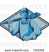 Vector Clip Art of Retro Blue Male Plumber Holding a Monkey Wrench over His Shoulder in a Blue and White Diamond by Patrimonio