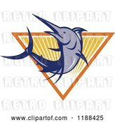 Vector Clip Art of Retro Blue Marlin Fish Leaping over a Triangle of Rays by Patrimonio