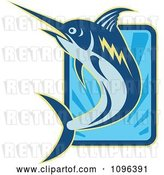 Vector Clip Art of Retro Blue Marlin Leaping over a Rectangle of Blue Rays by Patrimonio
