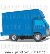 Vector Clip Art of Retro Blue Moving Van by Patrimonio