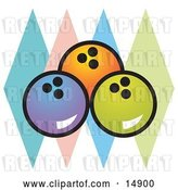 Vector Clip Art of Retro Blue, Orange and Green Bowling Balls over Colorful Diamonds by Andy Nortnik