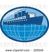 Vector Clip Art of Retro Blue Oval Cruise Ship Logo by Patrimonio