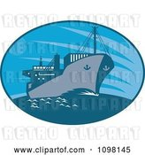 Vector Clip Art of Retro Blue Oval with a Cargo Ship by Patrimonio