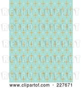 Vector Clip Art of Retro Blue Pattern Background of Orange and White Stars by Andy Nortnik