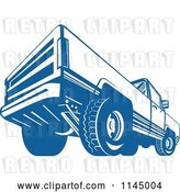 Vector Clip Art of Retro Blue Pickup Truck from the Back by Patrimonio