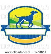 Vector Clip Art of Retro Blue Pointer Dog in a Crest by Patrimonio