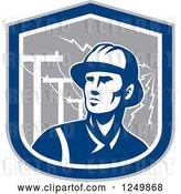 Vector Clip Art of Retro Blue Power Lineman in a Shield with Bolts by Patrimonio
