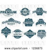 Vector Clip Art of Retro Blue Quality Labels by Vector Tradition SM