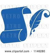 Vector Clip Art of Retro Blue Quil Pen and Scroll 1 by Vector Tradition SM