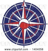 Vector Clip Art of Retro Blue Red and White Nautical Compass Rose by Inkgraphics