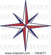 Vector Clip Art of Retro Blue Red and White Nautical Star by Inkgraphics