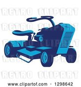 Vector Clip Art of Retro Blue Ride on Lawn Mower by Patrimonio