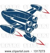 Vector Clip Art of Retro Blue Rocket with Red Flames 12 by Vector Tradition SM