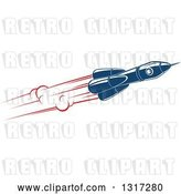 Vector Clip Art of Retro Blue Rocket with Red Flames 15 by Vector Tradition SM
