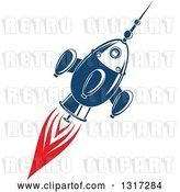 Vector Clip Art of Retro Blue Rocket with Red Flames 3 by Vector Tradition SM