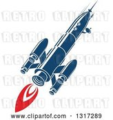 Vector Clip Art of Retro Blue Rocket with Red Flames 4 by Vector Tradition SM