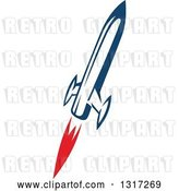 Vector Clip Art of Retro Blue Rocket with Red Flames 8 by Vector Tradition SM