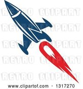 Vector Clip Art of Retro Blue Rocket with Red Flames 9 by Vector Tradition SM