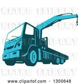 Vector Clip Art of Retro Blue Ruck Mounted Hydraulic Crane Cartage Hoist by Patrimonio