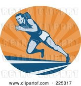 Vector Clip Art of Retro Blue Runner on a Track at Sunrise Logo by Patrimonio