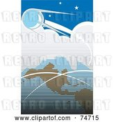 Vector Clip Art of Retro Blue Scene of Sputnik Orbiting Around Earth by Xunantunich